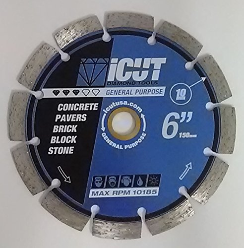 Paver Saw Accessories (iCut Premium Segmented 10mm Diamond Saw Blade General Purpose for cutting Concrete Block Brick Pavers (6 Inch))