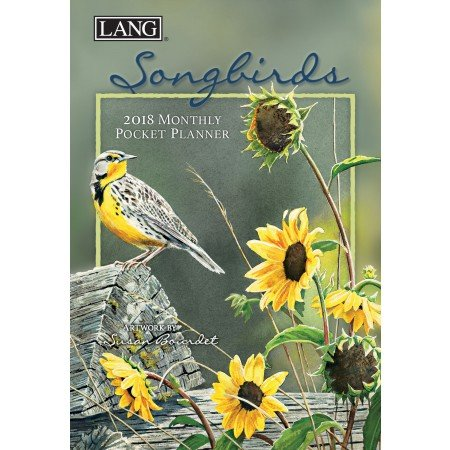"LANG - 2018 Monthly Pocket Planner - ""Songbirds"" - Artwork By Susan Bourdet - 13 Month - January to January - Portable 4.5"" x 6.5"""