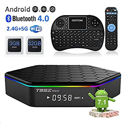 EASYTONE T95Z Plus Android TV Box 3GB 32GB,Android 7.1 TV Box Amlogic Octa-Core,Dual-Band Wi-Fi 2.4/5.8G Smart Boxes Android Mini PC with Wireless Keyboard Remote (Backlit)
