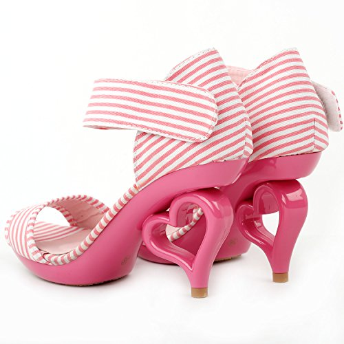 Ankle Sandals Strappy Strap Heart SM33101 Story Wedding With Bow Pink Dancing Heels Bride Show Unmoved White Stripe gEq5ztw5