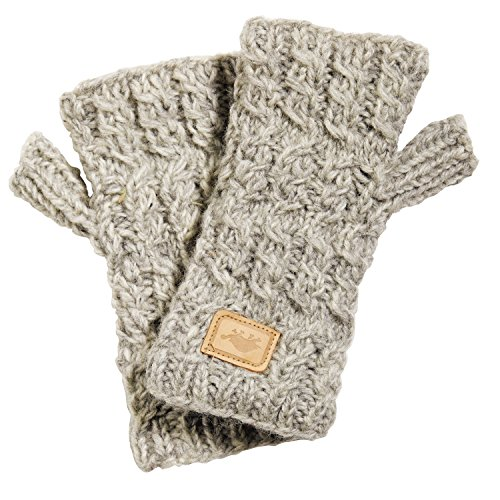 (Turtle Fur Mika Mittens Nepal Artisan Hand Knit Wool Fingerless Gloves Smoke Heather )