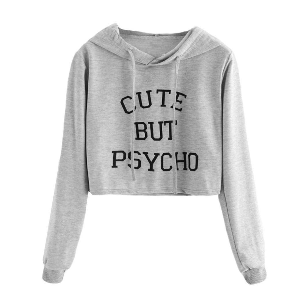 Clearance! Autumn Casual Hoodie Long SleeveCute But Psycho Print Sweatshirt Blouse Crop Tops for Women Girls