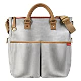 Skip Hop Baby Duo Special Edition Diaper Bag with Convertible Shoulder-to-Stroller Strapes ad Cushioned Changing Mat, 9 Pockets, French Stripe
