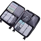 8 Pieces Packing Cubes Travel Luggage Organizer Mesh Compression Packing Bags (Style A, Gray)