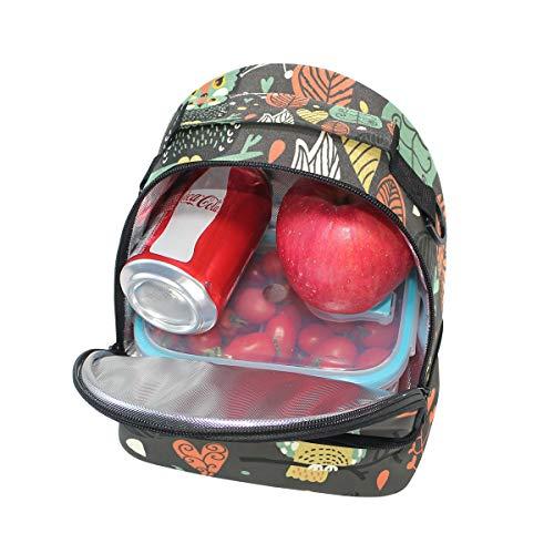 el Alinlo ajustable para hombro de con animados búhos correa Bolsa dibujos con diseño para el térmica almuerzo Oww6rq