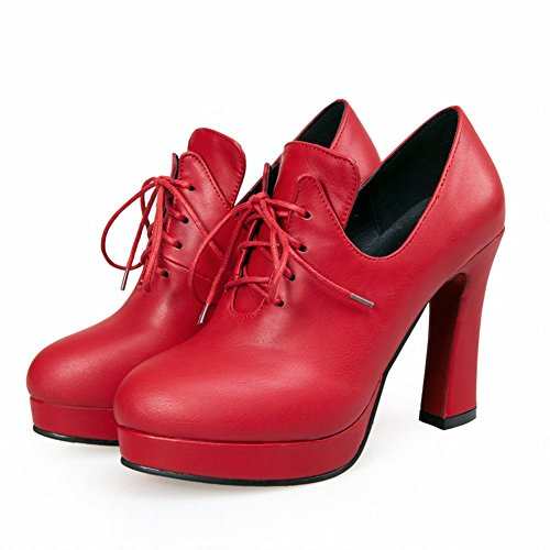 up Red Boots Platform Womens High Chic high Dress Latasa heel Lace Ankle fvtAgxxwqP