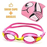 COPOZZ Kids Swimming Goggles + Swim Caps for Child Chilren Toddler Age 4-12 (Red)