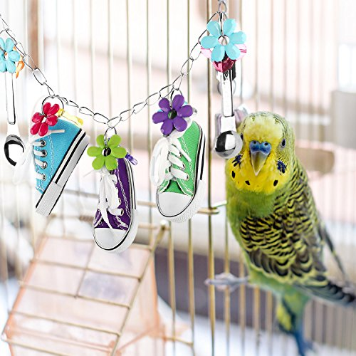 Toy Box Bird Toys - Aigou Sneaker Bird Toys,Parrot Cage Hanging Chewing Toys, Spoon Parrot Toy Swing for African Grey, Amazon Conure, Cockatoo and Macaw, Cockatiel