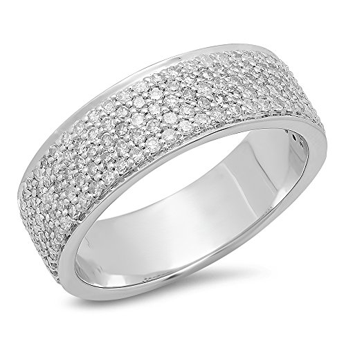 Ring Round Pave Gold (Dazzlingrock Collection 1.00 Carat (ctw) 10K Round White Diamond Men's Micro Pave Wedding Band 1 CT, White Gold, Size 10)