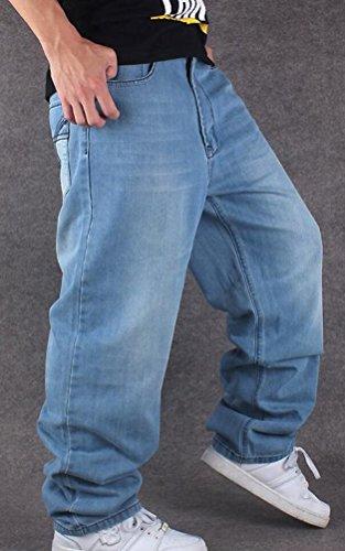 SMITHROAD Herren Baggy Jeans Jeanshose Rap Denim Skateboard Streetwear Locker Sitzend Hip Hop Hipster Style