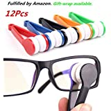 12 pcs Mini Sun Glasses Eyeglass Microfiber Spectacles Cleaner Brush Cleaning Tool,Random Color (12)