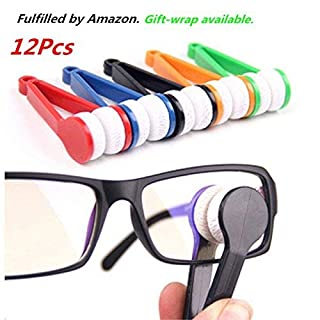 12 pcs Mini Sun Glasses Eyeglass Microfiber Spectacles Cleaner Brush Cleaning Tool,Random Color