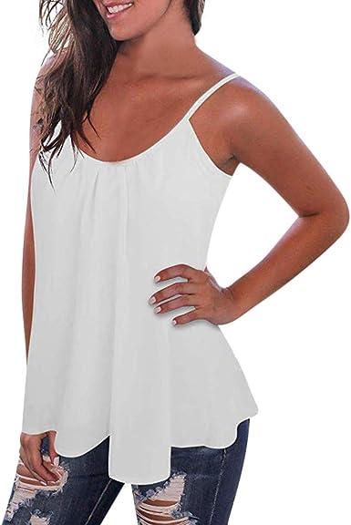Camisetas Sin Espalda Mujer Blusa Plisado Gasa Camiseta Sin Mangas Correa Suelto: Amazon.es: Ropa y accesorios