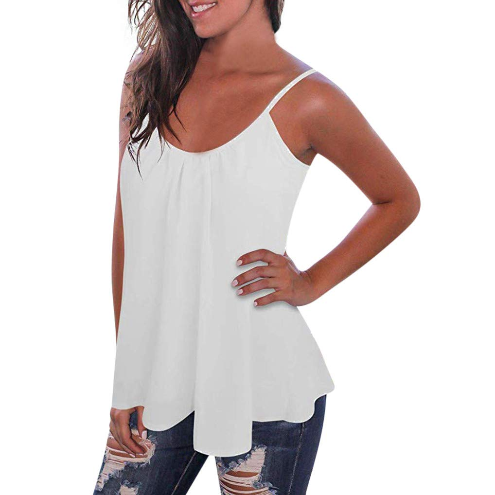 VLDO Shirts for Womens Pleated Chiffon Tank Top Loose Backless Spaghetti Strap Blouse