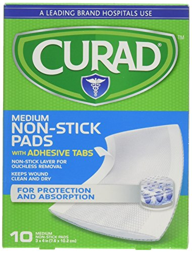Curad Non-Stick Pads With Adhesive Tabs 3 Inches X 4 Inches 10 Count (2 (Non Stick Wound Pad)