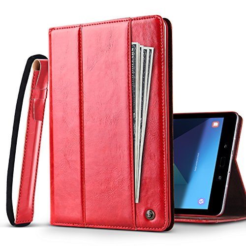B BELK Galaxy Tab S3 9.7 Case Business Leather Stand Folio Case w/S Pen Holder [Elastic Strap & Document Pocket], Smart Auto Sleep/Wake Portfolio Cover for Samsung Tab S3 SM-T825 T820 (Red) - Contour Leather Folio Case