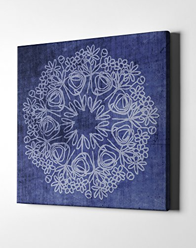 Epic Graffiti Indigo Mandala by Linda Woods Giclee Canvas Wall Art, 26'' x 26'', Contemporary by Epic Graffiti