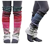VIGVOG High Knee Legging Boot Socks Long Knitted Snowflake Deer Knitted Warm Long Leg Warmers (Black&Green)