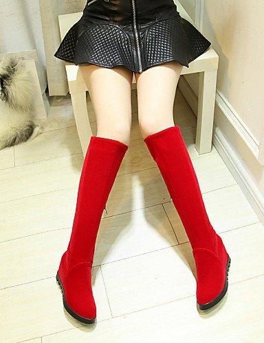 Punta 5 Vellón Casual Rojo Cn43 La 5 Eu42 us10 A De 5 Moda Red Uk8 Uk5 us7 Mujer Red Eu38 Cuña Redonda Zapatos 5 Negro Tacón Botas Vestido Xzz Cn38 XqZO4O