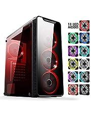 EMPIRE GAMING Warmachine - Gamer-PC-Gehäuse – Mittelgroßer Gehäuseturm ATX - 4 geräuschlose Lüfter - LED-RGB-Dual-Ring: Rückbeleuchtung mit 11 Modi - Front und Seite aus vorgespanntem Glas
