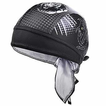 VBIGER Sweat Wicking Beanie Skull Cap Quick Dry Adjustable Cycling Hat Wrap Doo Rag for Men Women (Dragon Tiger Pattern)