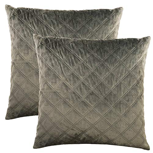 Rodeo Home Asher Decorative Velvet Throw Pillows for sofa, couch, Bed, Set of 2 Pillows, Includes Feather Down Insert (Gunmetal, 20x20)