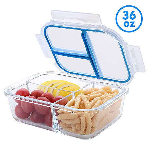Glass Meal Prep Containers 3 Compartments TIME4DEALS 1 Pack 36 Oz Upgraded Glass Lunch Containers Independent Seal NO FOOD ODOR Lunch Box Bento Box, BPA-Free, Microwave, Oven, Freezer, Dishwasher Safe 3 Compartment Food Containers