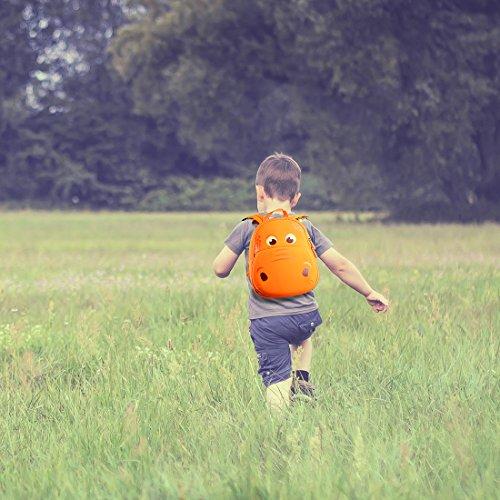 yisibo Sac à Dos De Dinosaure d'enfants, d'enfant en Bas âGe pour La Chambre BéBé/PréScolaire Voyage Jardin GarçOns Bande DessinéE 3D d'enfants Filles,Âge 2-6(Grosse Bouche Dinosaure-Orange)