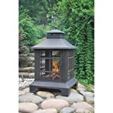 Vintage Antique Bronze Fireplace | Durable Steel Fireplace with PVC Cover and Poker | Perfect Contemporary Fire Place for Your Backyard, Patio, Deck & Garden or BBQ Grill