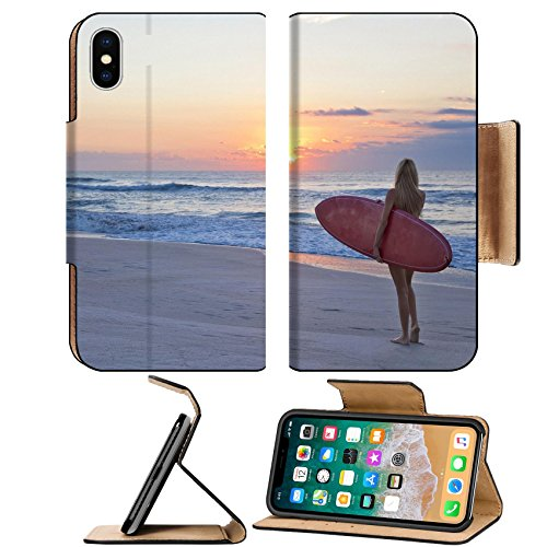 - Liili Premium Apple iPhone X Flip Pu Leather Wallet Case Rear view of three a young women surfer girl in bikinis with red surfboard beach Photo 19524110 by Liili Customized Premium Deluxe Pu L