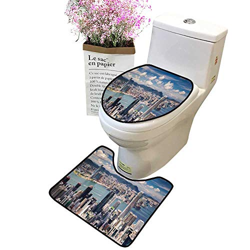 2-Piece Bathroom Toilet Accessory Set View Point Hongkong City Kowloon City from The top Victoria Peak Toilet Mat Set Bathroom Accessories ()