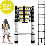 2018 New Telescopic Ladders Multi Purpose Aluminium 3.8m 12.5 Feet 330lb Capacity DIY Foldable Extendable Builder Loft Extension Ladders 13 Steps Portable