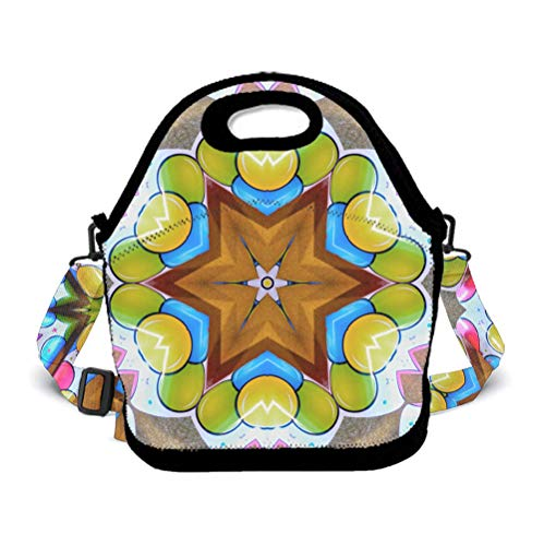 Eco-Friendly Neoprene Lunch Bag - Circus Kaleidoscope Flowers Floral - Large Insulated Lunch Sack, Soft Cooler/Hot Bag for School/Beach/Picnic/Camping/BBQ