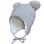 Twinklebelle Baby Toddler Kids Winter Earflap Beanie Hats (S: 3-9 Months, Grey Bear)