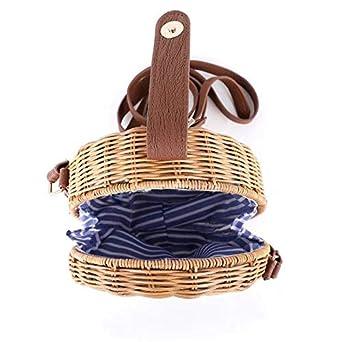 Round Straw Bag Women Summber Beach Purse Handbag Woven Cross Body Bag Satchel