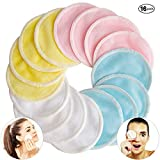 [16 Pack] Bamboo Makeup Remover Pads with Laundry Bag - Pinowu 2 Layers 3.15inch Reusable Organic Cotton Rounds for Eye Makeup Remove Face Wipe (Blue Pink Yellow White)