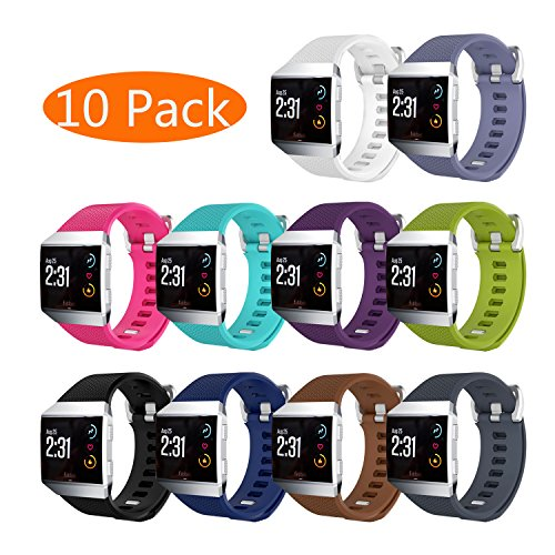 KingAcc Compatible Replacement Bands for Fitbit Ionic, Soft Silicone Fitbit Ionic Band with Metal Buckle Fitness Wristband Strap Women Men (10-Pack, 10 Colors, Large)