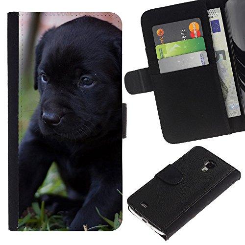 OMEGA Case / Samsung Galaxy S4 Mini i9190 MINI VERSION! / black Labrador retriever puppy dog / Cuero PU Delgado caso Billetera cubierta Shell Armor Funda Case Cover Wallet Credit Card