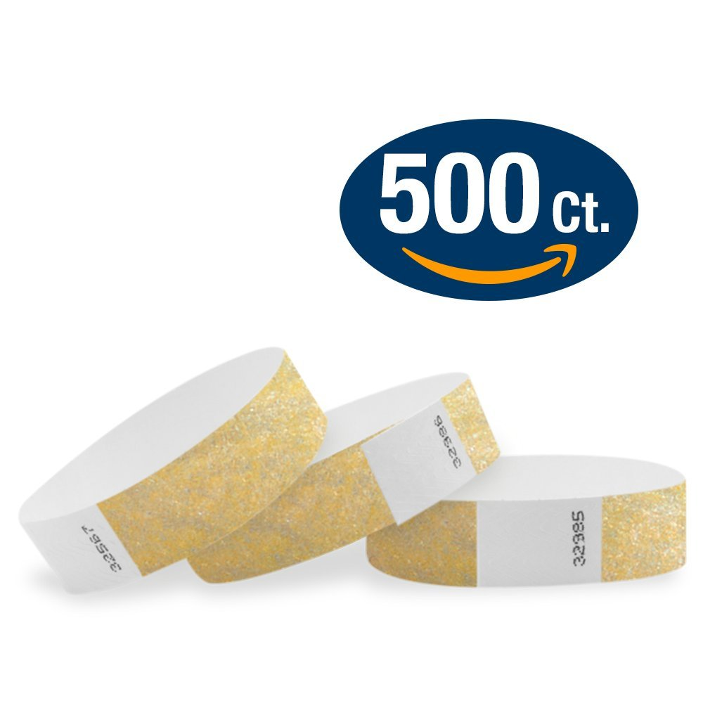 WristCo Metallic Gold 3/4'' Tyvek Wristbands - 500 Pack Paper Wristbands For Events