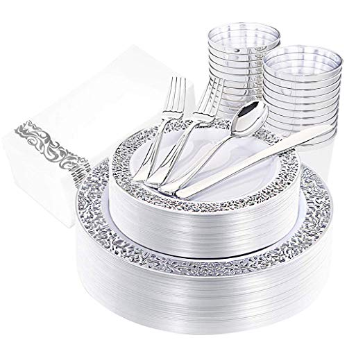 IOOOOO 160pcs Silver Plastic Plates, Silverware, Silver Cups & Hand Napkins, Includes : 40 Forks, 20 Spoons, 20 Knives, 20 Dinner Plates, 20 Dessert Plates, 20 Tumblers, 20 Towels