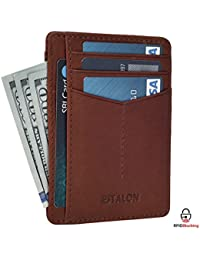 Front Pocket Slim wallets for Men - RFID Blocking Genuine Leather Handmade Minimalist Credit card Holder with Gift Box Womens and Mens Wallet By Estalon