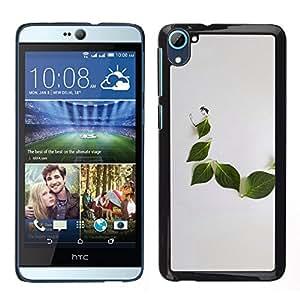TopCaseStore / la caja del caucho duro de la cubierta de protección de la piel - Leaf Grey Minimalist Nature Sad - HTC Desire D826