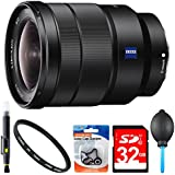 Sony SEL1635Z 16-35mm Vario-Tessar Lens Accessory Bundle Includes: Sony SEL1635Z 16-35mm Vario-Tessar T FE F4 ZA OSS Full-frame E-Mount Lens, 72mm UV Filter, 32GB SDHC Memory Card, Lens Blower & More