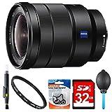 Sony SEL1635Z 16-35mm Vario-Tessar Lens Accessory Bundle Includes: Sony SEL1635Z 16-35mm Vario-Tessar T FE F4 ZA OSS Full-frame E-Mount Lens, 72mm UV Filter, 32GB SDHC Memory Card, Lens Blower & More