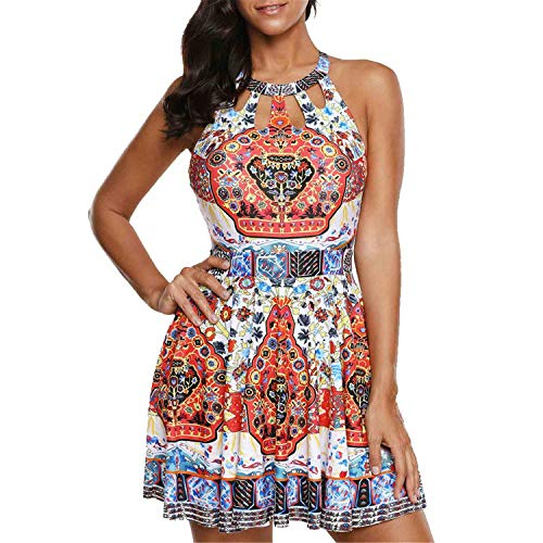 JIANLANPTT Women Plus Size Bathing Swim Suit Dress Flok Style Floral Print Halter Cut Out One Piece Swimdress Ethnic Print L(Asian 3XL)