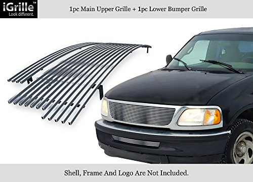 APS Fits 1997-1998 Ford F-150 2WD Bar Style Stainless Billet Grille Combo #F87952C