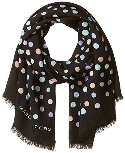 Marc Jacobs Women's Pastel Dot Large Scarf, black/Multi, One (Marc Jacobs Designer Scarf)