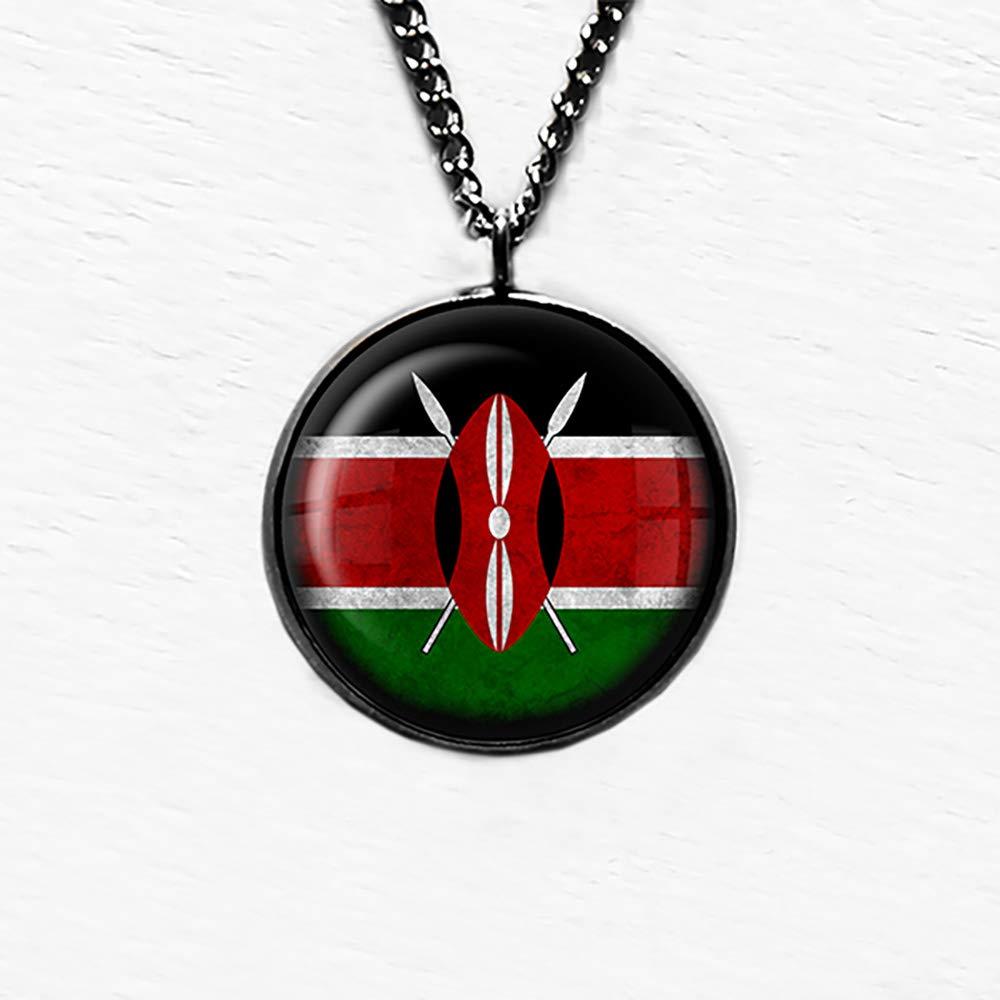Kenya Kenyan Flag Kenia Kenyan Flagge Anh/änger und Halskette