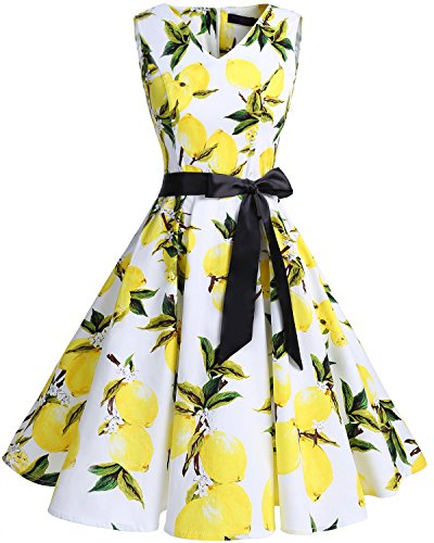 Bridesmay Women's V-Neck Audrey Hepburn 50s Vintage Elegant Floral Rockabilly Swing Cocktail Party Dress White Lemon 2XL