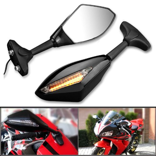 2X Motorcycle Amber LED Turn Signal Light Blinker Indicator Side Marker Integrated Black Racing Side Rear View Mirror Compatible with Suzuki SV650 Katana 600 750 GSX600F GSX750F